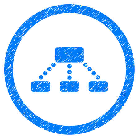 Rounded Hierarchy rubber seal stamp watermark. Icon symbol inside circle with grunge design and dirty texture. Unclean vector blue emblem. Illustration