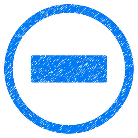 Rounded Minus rubber seal stamp watermark. Icon symbol inside circle with grunge design and scratched texture. Unclean vector blue emblem.