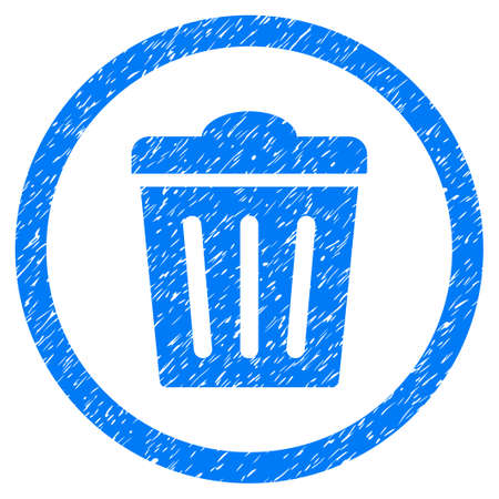 Rounded Trash Can rubber seal stamp watermark. Icon symbol inside circle with grunge design and unclean texture. Unclean vector blue sign.