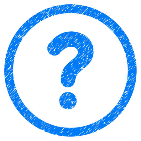 Rounded Question rubber seal stamp watermark. Icon symbol inside circle with grunge design and dust texture. Unclean vector blue sign.