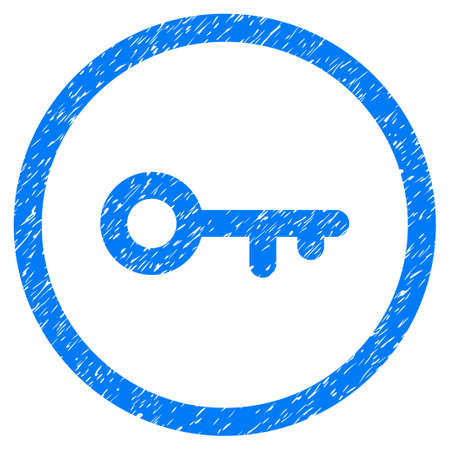 latchkey: Rounded Key rubber seal stamp watermark. Icon symbol inside circle with grunge design and dirty texture. Unclean vector blue sign. Illustration