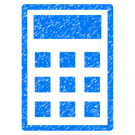 calc: Calculator grainy textured icon for overlay watermark stamps. Flat symbol with unclean texture. Dotted vector blue ink rubber seal stamp with grunge design on a white background.