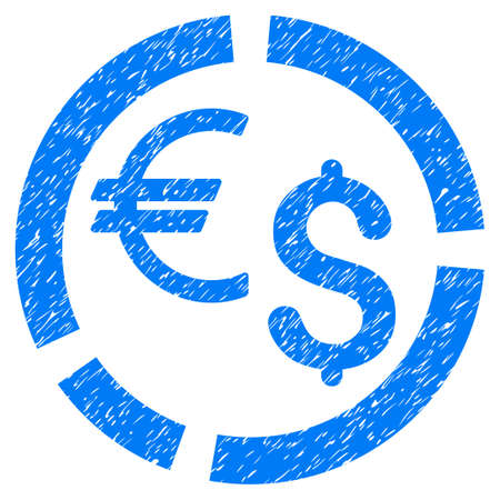 Currency Diagram grainy textured icon for overlay watermark stamps. Flat symbol with unclean texture. Dotted vector blue ink rubber seal stamp with grunge design on a white background. Illustration