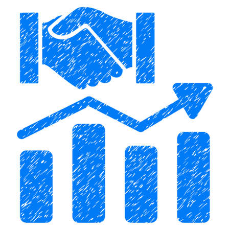 graph trend: Acquisition Hands Graph Trend grainy textured icon for overlay watermark stamps. Flat symbol with dust texture. Dotted vector blue ink rubber seal stamp with grunge design on a white background.