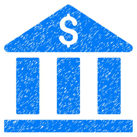 corporative: Bank Building grainy textured icon for overlay watermark stamps. Flat symbol with dust texture. Dotted vector blue ink rubber seal stamp with grunge design on a white background.