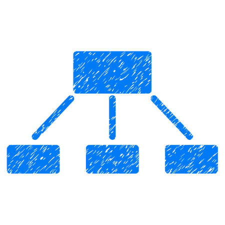 Hierarchy grainy textured icon for overlay watermark stamps. Flat symbol with dust texture. Dotted vector blue ink rubber seal stamp with grunge design on a white background.