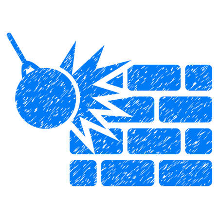 Destruction grainy textured icon for overlay watermark stamps. Flat symbol with dirty texture. Dotted vector blue ink rubber seal stamp with grunge design on a white background. Illustration
