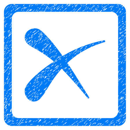 Reject grainy textured icon for overlay watermark stamps. Flat symbol with unclean texture. Dotted vector blue ink rubber seal stamp with grunge design on a white background.