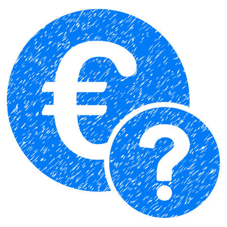 Euro Status grainy textured icon for overlay watermark stamps. Flat symbol with scratched texture. Dotted vector blue ink rubber seal stamp with grunge design on a white background.