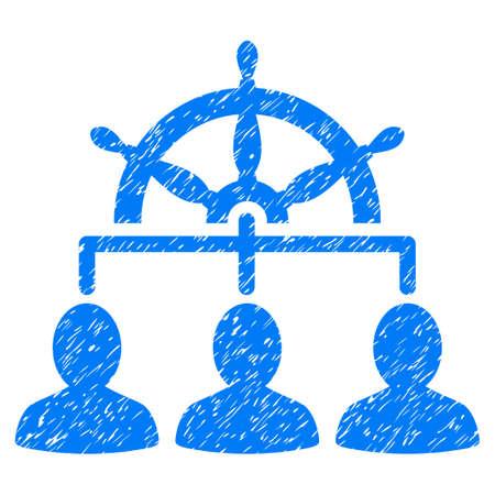 Management Steering Wheel korrelige textuur pictogram voor overlay watermerk stempels. Vlakke symbool met een krassende textuur. Gestippelde vector blauwe zegel van de inkt rubberverbinding met grungeontwerp op een witte achtergrond.