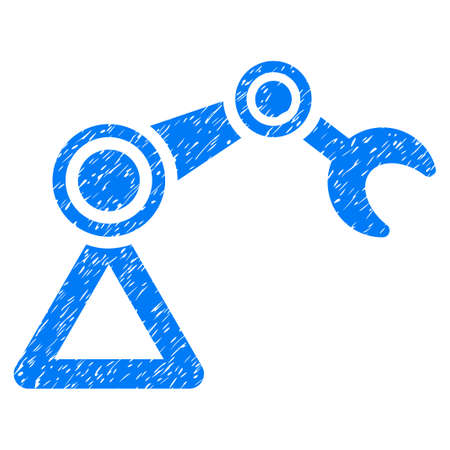 manipulator: Manipulator Equipment grainy textured icon for overlay watermark stamps. Flat symbol with unclean texture. Dotted vector blue ink rubber seal stamp with grunge design on a white background. Illustration