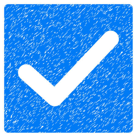 Check grainy textured icon for overlay watermark stamps. Flat symbol with unclean texture. Dotted vector blue ink rubber seal stamp with grunge design on a white background.
