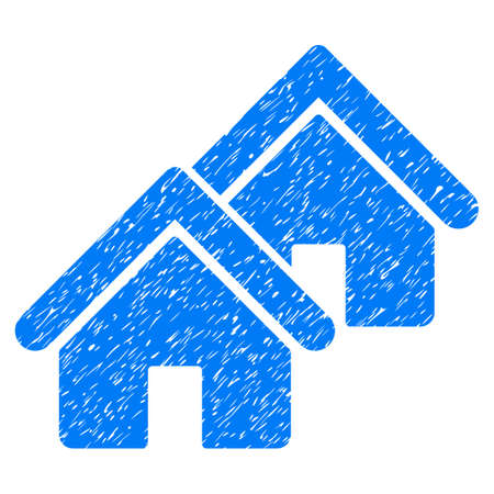 Realty grainy textured icon for overlay watermark stamps. Flat symbol with unclean texture. Dotted vector blue ink rubber seal stamp with grunge design on a white background.