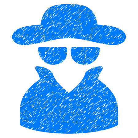 Spy grainy textured icon for overlay watermark stamps. Flat symbol with dirty texture. Dotted vector blue ink rubber seal stamp with grunge design on a white background. Illustration