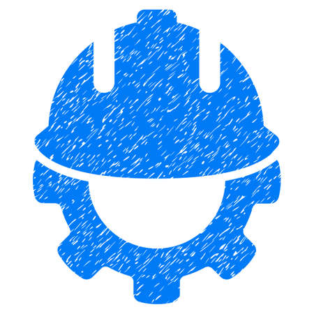 config: Development grainy textured icon for overlay watermark stamps. Flat symbol with scratched texture. Dotted vector blue ink rubber seal stamp with grunge design on a white background.