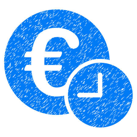 Euro Credit grainy textured icon for overlay watermark stamps. Flat symbol with dirty texture. Dotted vector blue ink rubber seal stamp with grunge design on a white background.