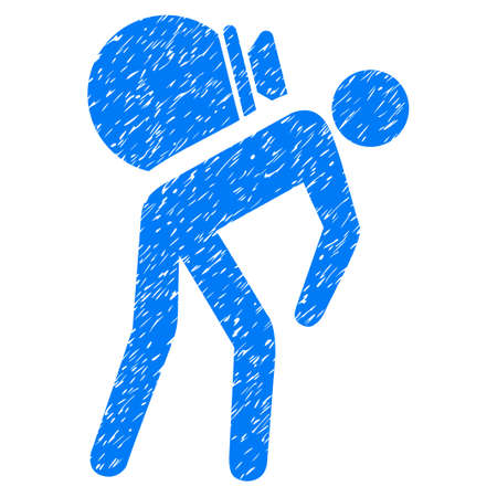 Porter icône texture granuleuse pour les timbres de filigrane recouvrement. symbole plat avec la texture sale. caoutchouc encre bleue vecteur Dotted joint timbre avec conception grunge sur un fond blanc.