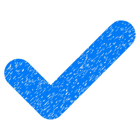 Yes grainy textured icon for overlay watermark stamps. Flat symbol with dust texture. Dotted vector blue ink rubber seal stamp with grunge design on a white background. Illustration