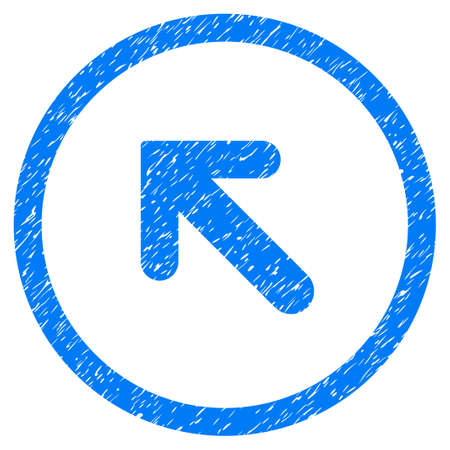 Rounded Arrow Left Up rubber seal stamp watermark. Icon symbol inside circle with grunge design and unclean texture. Unclean glyph blue sign.