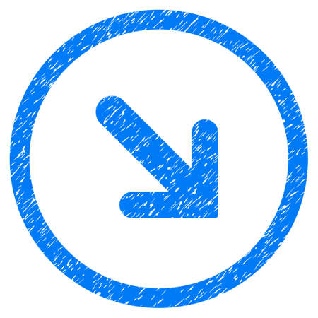 Rounded Arrow Right Down rubber seal stamp watermark. Icon symbol inside circle with grunge design and unclean texture. Unclean glyph blue emblem. Stock Photo