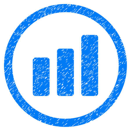 Rounded Bar Chart Increase rubber seal stamp watermark. Icon symbol inside circle with grunge design and dust texture. Unclean glyph blue sign.
