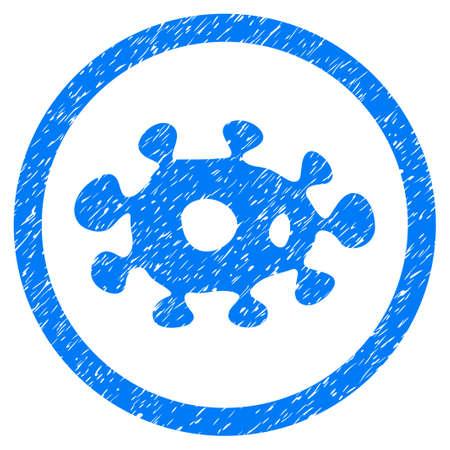 ameba: Marca de agua de sello de sello de caucho redondeado. Símbolo del icono dentro del círculo con el diseño del grunge y la textura del polvo. Emblema de glifo azul impuro.