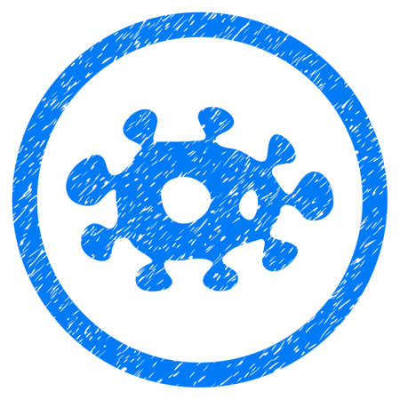Rounded Virus rubber seal stamp watermark. Icon symbol inside circle with grunge design and dust texture. Unclean glyph blue emblem.