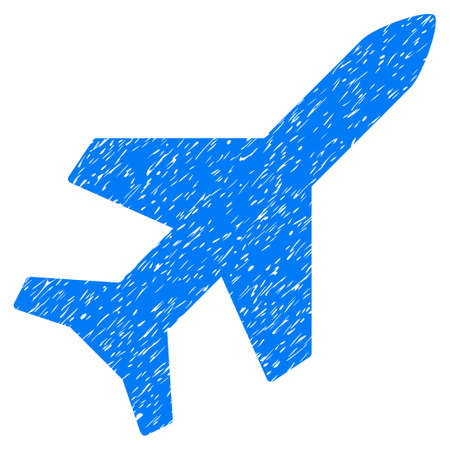 Aeroplane grainy textured icon for overlay watermark stamps. Flat symbol with dust texture. Dotted glyph blue ink rubber seal stamp with grunge design on a white background.