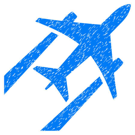 airways: Air Jet Trace grainy textured icon for overlay watermark stamps. Flat symbol with unclean texture. Dotted glyph blue ink rubber seal stamp with grunge design on a white background.