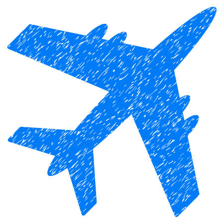 Aircraft grainy textured icon for overlay watermark stamps. Flat symbol with unclean texture. Dotted glyph blue ink rubber seal stamp with grunge design on a white background.