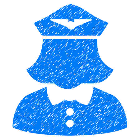 Airline Stewardess grainy textured icon for overlay watermark stamps. Flat symbol with scratched texture. Dotted glyph blue ink rubber seal stamp with grunge design on a white background.