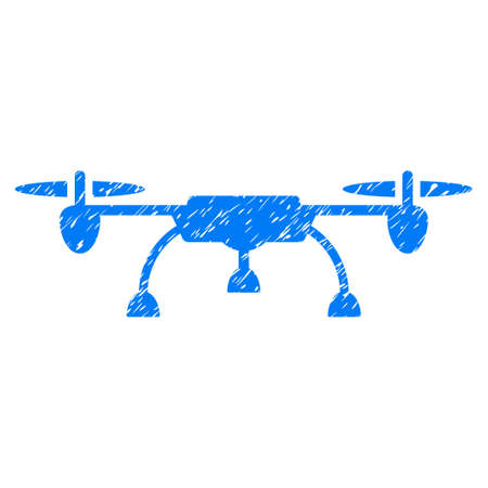 airflight: Drone grainy textured icon for overlay watermark stamps. Flat symbol with dirty texture. Dotted glyph blue ink rubber seal stamp with grunge design on a white background.