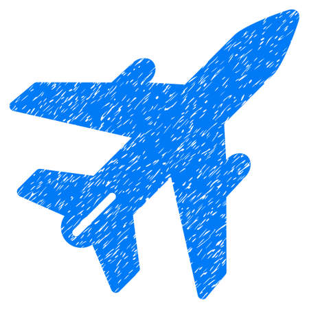 Airplane grainy textured icon for overlay watermark stamps. Flat symbol with dirty texture. Dotted glyph blue ink rubber seal stamp with grunge design on a white background.
