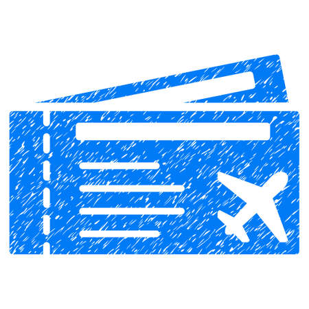 Airtickets grainy textured icon for overlay watermark stamps. Flat symbol with scratched texture. Dotted glyph blue ink rubber seal stamp with grunge design on a white background.