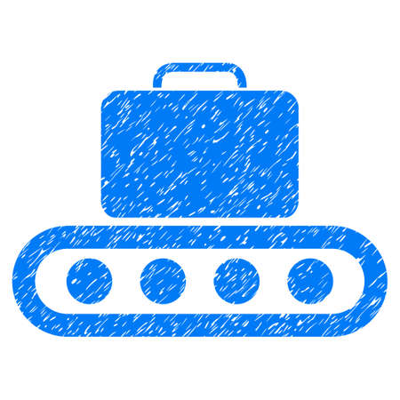 rulos: Baggage Conveyor grainy textured icon for overlay watermark stamps. Flat symbol with dust texture. Dotted glyph blue ink rubber seal stamp with grunge design on a white background.