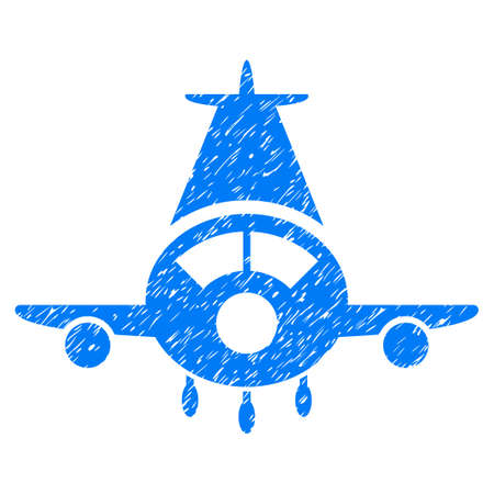 Cargo Plane grainy textured icon for overlay watermark stamps. Flat symbol with scratched texture. Dotted glyph blue ink rubber seal stamp with grunge design on a white background.