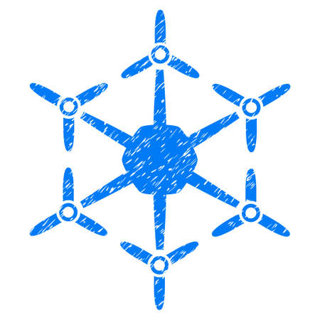 Hexacopter grainy textured icon for overlay watermark stamps. Flat symbol with scratched texture. Dotted glyph blue ink rubber seal stamp with grunge design on a white background.