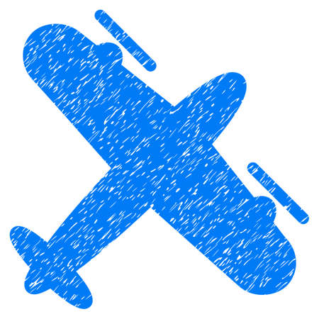 Propeller Aircraft grainy textured icon for overlay watermark stamps. Flat symbol with unclean texture. Dotted glyph blue ink rubber seal stamp with grunge design on a white background.