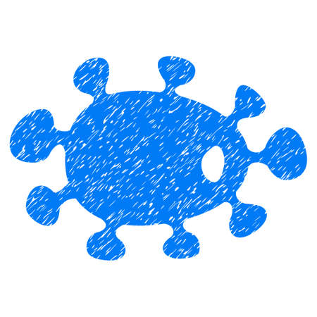 idler: Bacteria grainy textured icon for overlay watermark stamps. Flat symbol with scratched texture. Dotted glyph blue ink rubber seal stamp with grunge design on a white background.