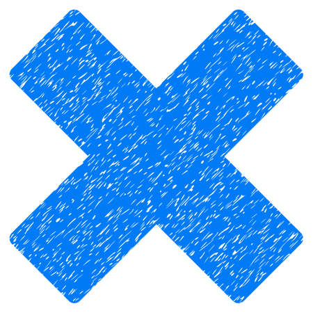 Delete X-Cross grainy textured icon for overlay watermark stamps. Flat symbol with dust texture. Dotted glyph blue ink rubber seal stamp with grunge design on a white background.