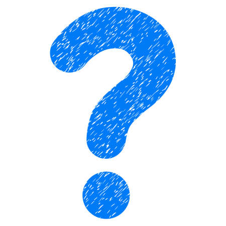 sql: Question grainy textured icon for overlay watermark stamps. Flat symbol with unclean texture. Dotted glyph blue ink rubber seal stamp with grunge design on a white background. Stock Photo