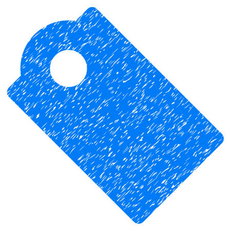 Tag grainy textured icon for overlay watermark stamps. Flat symbol with dust texture. Dotted glyph blue ink rubber seal stamp with grunge design on a white background.