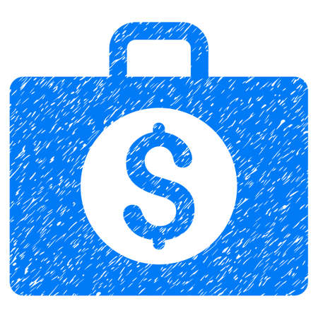Accounting Case grainy textured icon for overlay watermark stamps. Flat symbol with scratched texture. Dotted glyph blue ink rubber seal stamp with grunge design on a white background. Stock Photo