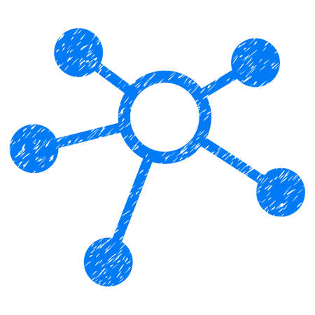 Connections grainy textured icon for overlay watermark stamps. Flat symbol with unclean texture. Dotted glyph blue ink rubber seal stamp with grunge design on a white background.