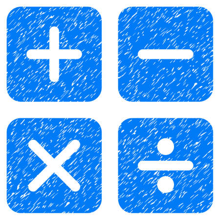 Calculator grainy textured icon for overlay watermark stamps. Flat symbol with scratched texture. Dotted glyph blue ink rubber seal stamp with grunge design on a white background.
