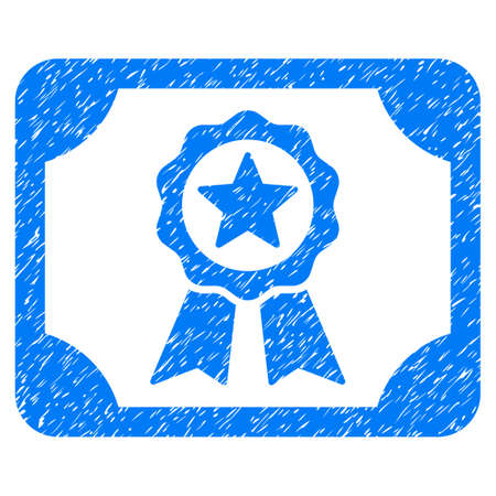 Certificate grainy textured icon for overlay watermark stamps. Flat symbol with scratched texture. Dotted glyph blue ink rubber seal stamp with grunge design on a white background.