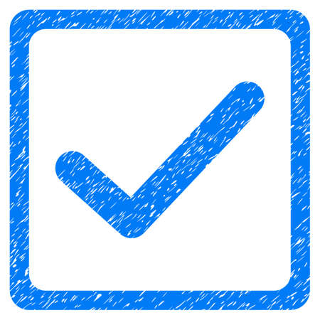marked boxes: Checkbox grainy textured icon for overlay watermark stamps. Flat symbol with dust texture. Dotted glyph blue ink rubber seal stamp with grunge design on a white background.
