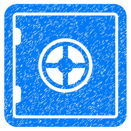 Safe grainy textured icon for overlay watermark stamps. Flat symbol with scratched texture. Dotted glyph blue ink rubber seal stamp with grunge design on a white background.