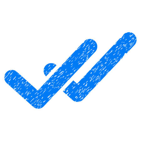 Validation grainy textured icon for overlay watermark stamps. Flat symbol with dust texture. Dotted glyph blue ink rubber seal stamp with grunge design on a white background. Stock Photo