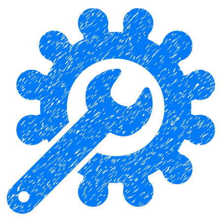 Wrench And Gear Customization Tools grainy textured icon for overlay watermark stamps. Flat symbol with dirty texture. Dotted glyph blue ink rubber seal stamp with grunge design on a white background.